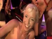 Bukkake fetish loving slut fucks and sucks hard cocks