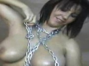 Polish Busty Kora masturbate in chains