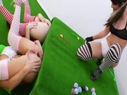 Three anal queens use ass as golf hole