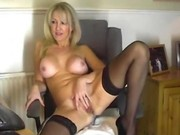 Hot blonde milf playing with her pussy for you