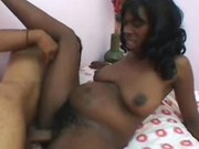 Preggy ebony moans like a slut with a black dick in her hairy tw