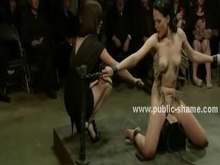 Pervert public is invited to bondage sex orgy with naked slut wi