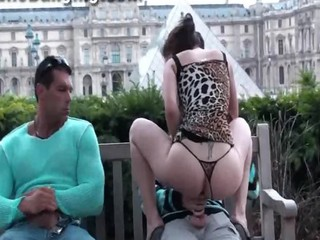 Hot public sex threesome in Louvre Paris in broad daylight Part