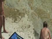 Real Amateur Couple #rec fucks on the sunny beach Voyeur