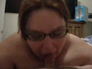 Sexy Fat Girl in Glasses sucks on some Dick
