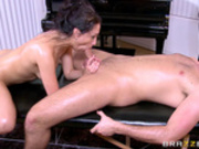 The bride to be Vicki Chase sucking on masseur's cock