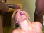 Alena Croft takes facials from 4 big black cocks