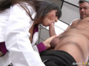 Dr Mercedes Carrera motivates her patient by sucking his dick