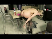 Milf maid masturbates in the kitchen