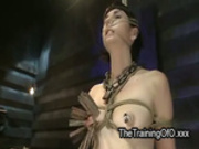 Tied up brunette slave tits zippered