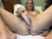 Blonde with perfect boobs Ashley squirts her juices