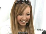 Subtitled two tan Japanese gyaru bizarre CFNM handjobs