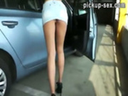 Busty amateur skank nailed and facialed in parking lot