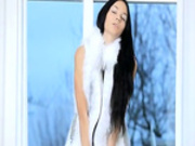 Killer brunette model in white heels