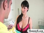 Naughty stepmom takes advantage of a teen couple and gets creamp