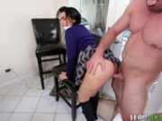 Latina school girl Ada Sanchez moves her panties over and fucked in the kitchen