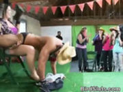 Drunken Women In Cowgirl Outfits Party With Male Strippers