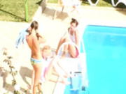 Three teens secret fucking by the pool -2