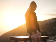 Blonde model Francesca during sunset