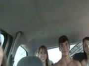 Beautiful young girl eat dick in car