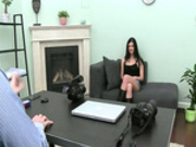 Hot woman masturbating with toy on couch