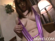 Araki Hitomi in purple satin fingers and toys her pussy and play