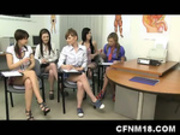 CFNM anatomy class with five cock-starved schoolgirls