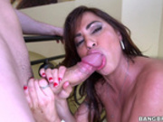 Julianna Vega gets sucking big fat cock on staircase