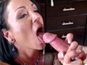 Horny step mom Ashton Blake jerks cock off in her mouth