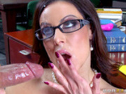 Hot librarian Kendra Lust takes facial in library