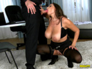 Sensual Jane big jugs move and bounce while she sucked cock