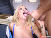 Flight attendant Helly Hellfire takes a load off a passenger