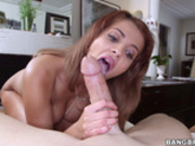 Lovely latina maid sucks on big dick for cash