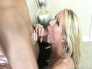 Horny milf sucking dick and taking facial cum