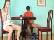 Horny rawboned girl banged on the table