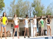 Six naked girls by the pool from germany -2
