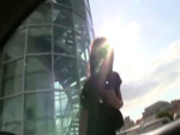 Brunette teen girl gives head outdoors
