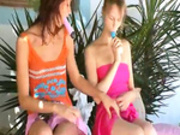 Two american lesbian girls dildoing