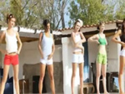 Six naked girls by the pool from france -2