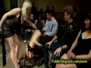 Hooded babe flogged and fucked in public