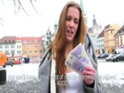Blondie skank public flashing and fucked to earn some cash