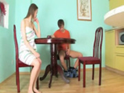 Horny gaunt girl banged on the table