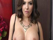 Danica Dillan shows him her big tits and lets him suck on them
