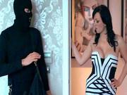 Jasmine James uses burglar's fat cock to get some revenge on her husband