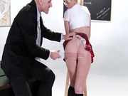 Alexis Ford in a schoolgirl outfit gets her ass slapped