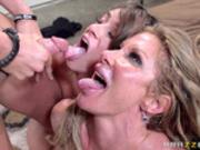 Sexy blonde milf shares hardcore facial with her step daughter