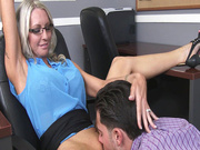 Emma Starr has her employee eat her MILF cunt in the office