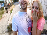 Kyra Hot fucks with a guy in public as an old couple manages to pass them by