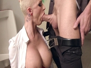 Joslyn James wraps her slutty lips around his boner