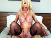 Big breasted porn star Nikki Benz rides him reverse cowgirl